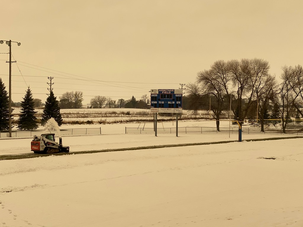 Canby Football Field with Snow