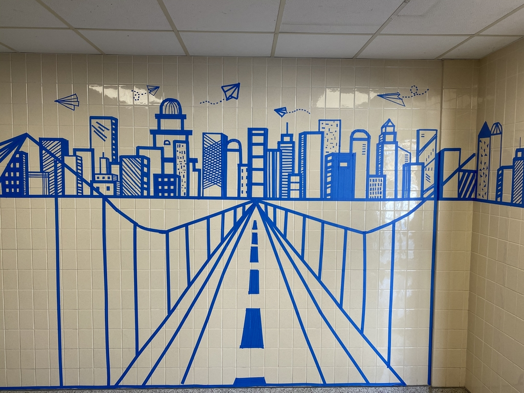 Tape art skyline