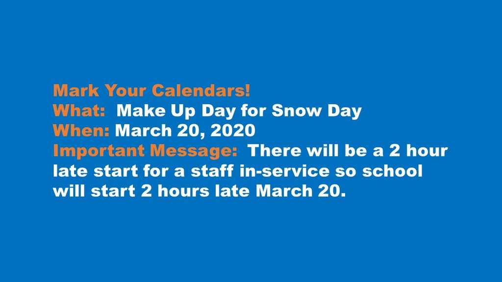 March 20 Make Up Day