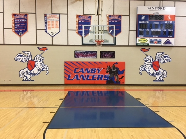Picture of high school gym hoop